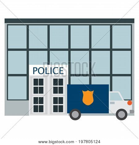 Police station department building icon, vector illustration flat style design isolated on white. Colorful graphics