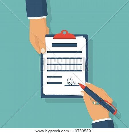Sign document. Businessman holding pen in hand signs contract. Person hold clipboard. Business concept. Symbol of partnership. Vector illustration flat design. Isolated on white background.