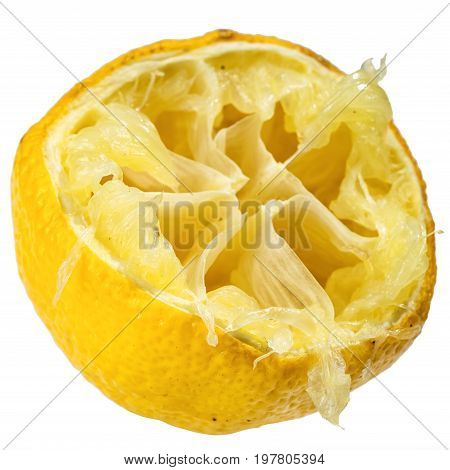 half squeezed lemon isolated on white background as a exhausted and tired concept