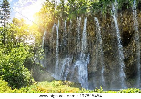 Waterfall in the Plitvice National Park. Close-up.