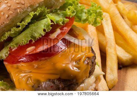 Tasty hamburger and french fries close-up ,.