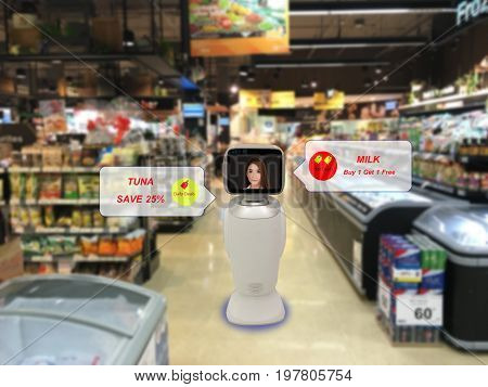 robotic advisor technology concept retail or department store use robot advisor to help customer while shopping to give information about product sell price subtotal money with a woman display