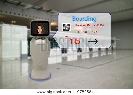 robotic advisor technology conceptairport use robotic advisor for help passenger and give information about the flight boarding pass time and direction to the gate with augmented reality