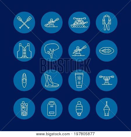 Rafting, kayaking flat line icons. Vector illustration of water sport equipment - river raft, kayak, canoe, paddles, life vest. Linear signs set, summer recreation pictograms for paddling gear store.