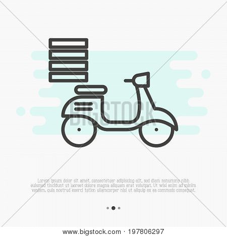 Fast food delivery by motorbike thin line icon. Vector illustration.