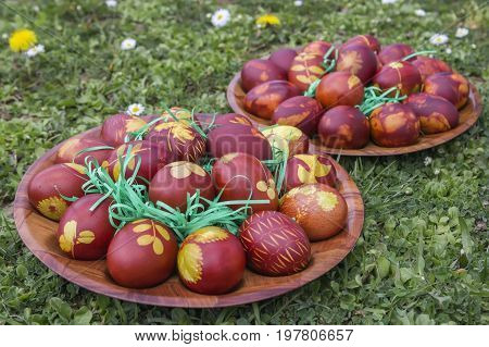Natural Dyed Easter Eggs Colored With Onion Skins