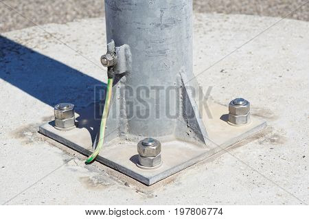 Cables connected to electrical grounding bar .Electric grounding .