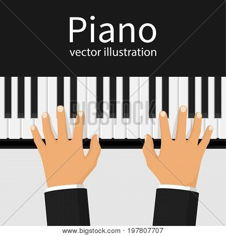Hands on the piano keys. Human playing the synthesizer top view. Musician performs a symphony. Musical background. Vector illustration flat design. Isolated on white background.