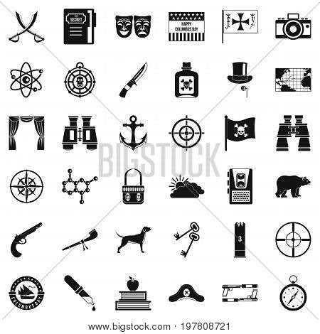 Binoculars icons set. Simple style of 36 binoculars vector icons for web isolated on white background