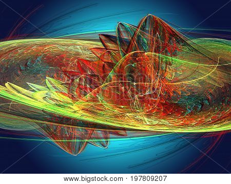 Abstract fractal background resembling dragon wing with scales. Red green and yellow fractal with stylized mythical animal on a dark blue background. 3d illustration