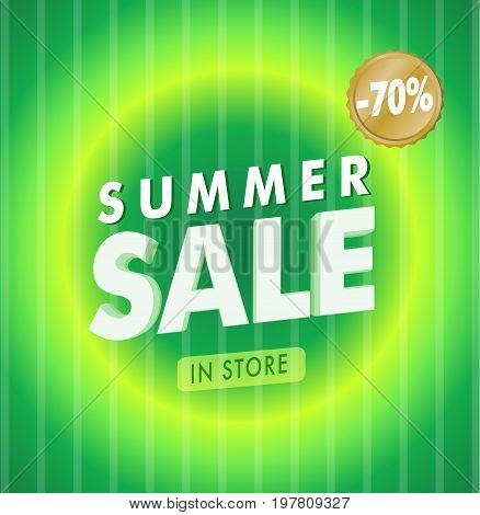 Green striped Summer Sale template with discount vector illustration
