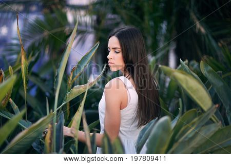 Close-up portrait of a cute young woman looks down on fresh natural leaves background. A positive and healthy female on a green natural background. A beautiful and calm girl walking in a park.