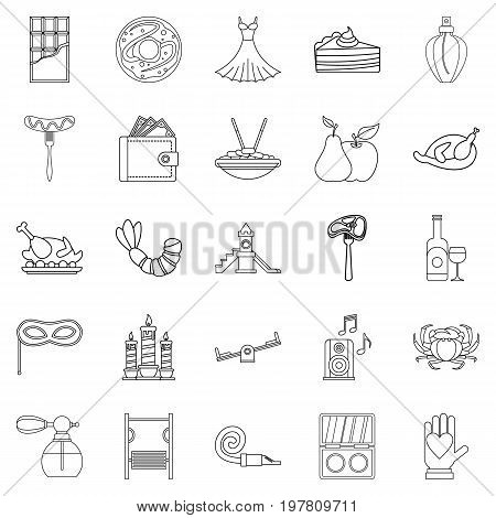 Evening gown icons set. Outline set of 25 evening gown vector icons for web isolated on white background