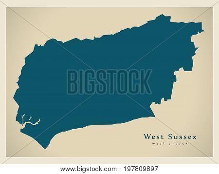 Modern Map - West Sussex County England Uk Illustration