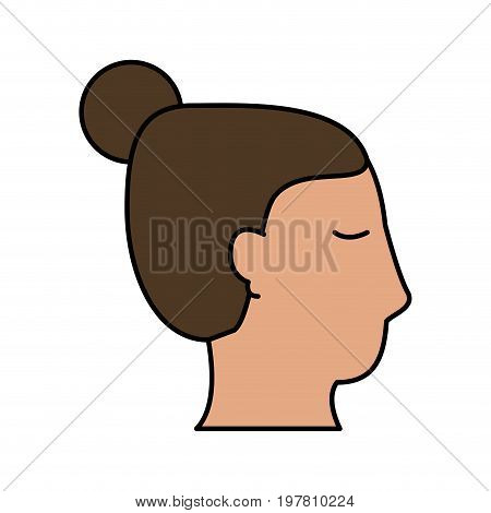 head of woman sideview icon image vector illustration design