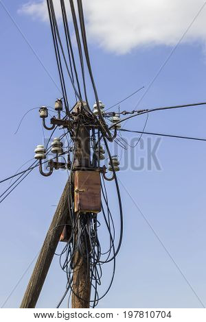 Wooden Electrical Pole With Telephone Lines 2