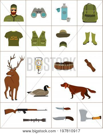 Hunter and set of hunting equipment, vector flat illustration, clothes and shotgun, duck decoy, knife and gun, dog and deer.
