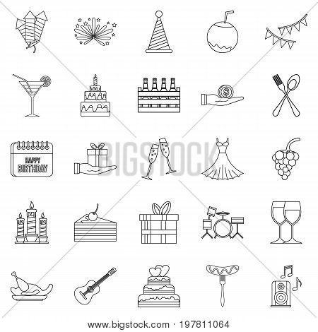 Date icons set. Outline set of 25 date vector icons for web isolated on white background