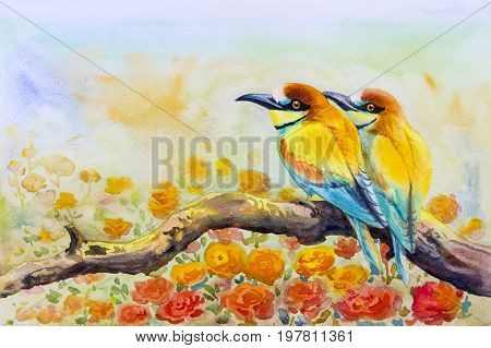 Watercolor landscape original painting on paper colorful of couple birds on a branch amidst beautiful roses and emotion in sky background