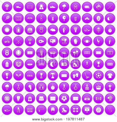 100 stadium icons set in purple circle isolated on white vector illustration