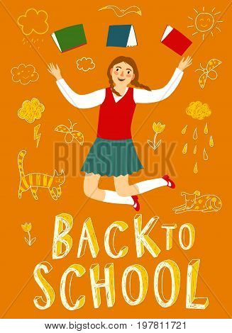 Happy cartoon schoolgirl jumping with books. Back to school title. Education poster for your design.