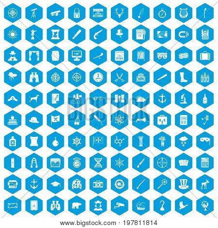 100 binoculars icons set in blue hexagon isolated vector illustration