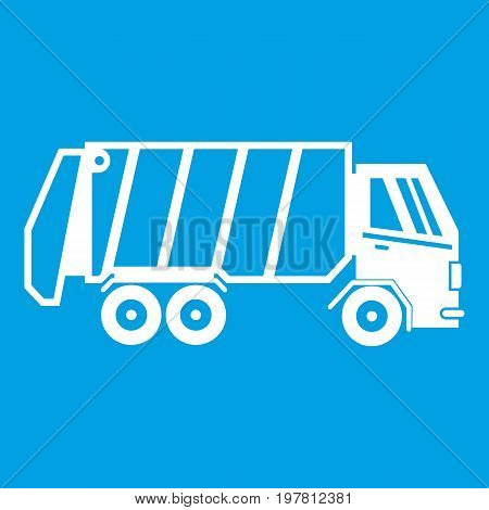 Garbage truck icon white isolated on blue background vector illustration