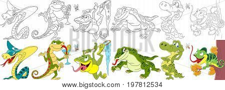 Cartoon animal set. Collection of reptiles and amphibians. King cobra snake gecko (salamander) frog (toad) monitor lizard (varan) crocodile (alligator) chameleon. Coloring book pages for kids.