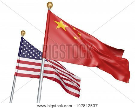 China and United States flags flying together for important diplomatic talks, 3D rendering