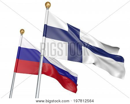 Finland and Russia flags flying together for important diplomatic talks, 3D rendering