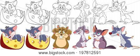 Cartoon animal set. Collection of rodents. Mouse with a piece of cheese rat hamster gerbil chinchilla. Coloring book pages for kids.