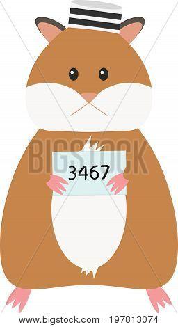 Vector Illustration of a funny cartoon hamster. Criminal mug shot.