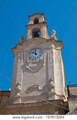 Perspective of the Clocktower of Massafra. Puglia. Italy.