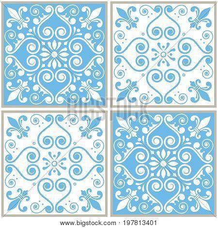 Tiles seamless collection, Portuguese or Spanish vector tile design