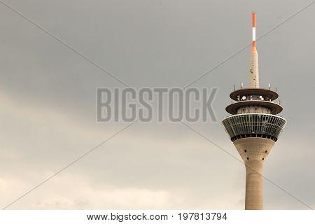 View of the television tower Rheinturm of Dusseldorf in Germany