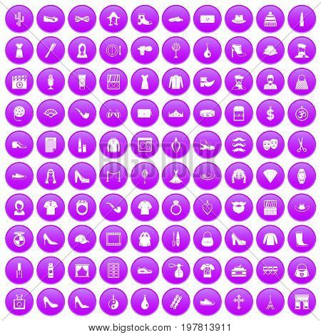 100 stylist icons set in purple circle isolated on white vector illustration