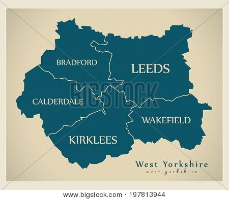 Modern Map - West Yorkshire Metropolitan County With Distirct Captions England Uk