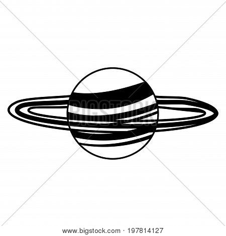 celestial body with ring around  icon image vector illustration design  black and white