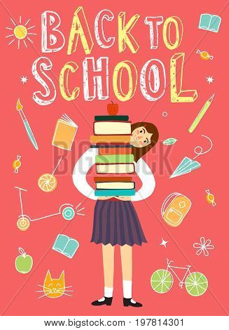 Happy cartoon schoolgirl holding books. Back to school title. Education poster for your design.