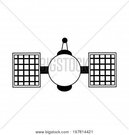 satellite telecommunications icon image vector illustration design  black and white