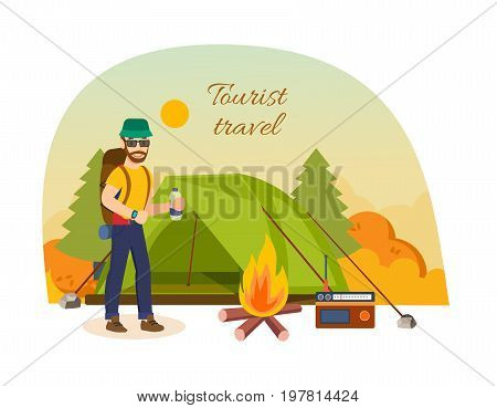 Tourist autumn travel concept. Autumn vacation outdoor, camping and hiking. Man in travels, exploring the terrain, setting tent for living, kindles fire. Vector illustration isolated in cartoon style.