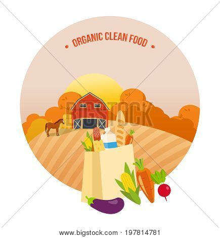 Autumn organic clean food. Farmer, farmland, village with gardens, greenery, harvest and grain, hay, organic eco products. Agriculture, farming. Autumn rural landscape Vector illustration isolated