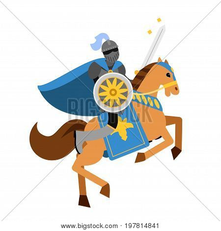 Armed knight riding horse medieval character, colorful vector Illustration on a white background