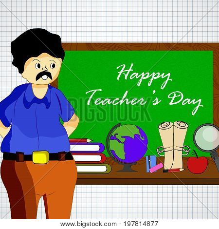 illustration of globe, lense, apple, book, man, pencil, notebook with Happy Teacher's day text on the occasion of Teacher's Day