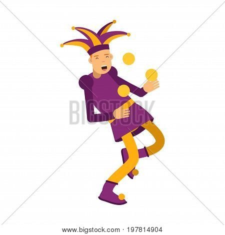 Medieval jester character juggling with balls, colorful vector Illustration on a white background
