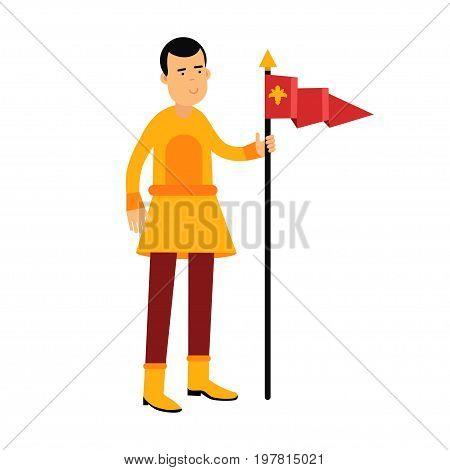Young standard bearer holding a red banner with a royal symbol, medieval character colorful vector Illustration on a white background
