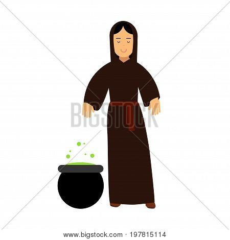 Young witch in black dress cooking potion, fairytale or medieval character colorful vector Illustration on a white background