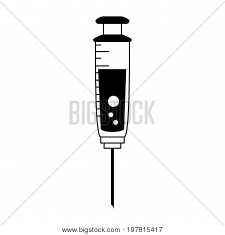 syringe with fluid icon image vector illustration design  black and white