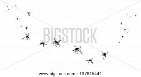 A flock of flying mosquitoes. Silhouette graphic image. Vector isolated on white background