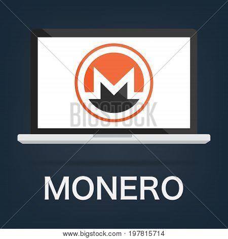 Computer laptop with Monero XMR cryptocurrency blockchain technology logo. Vector illustration logo concept.